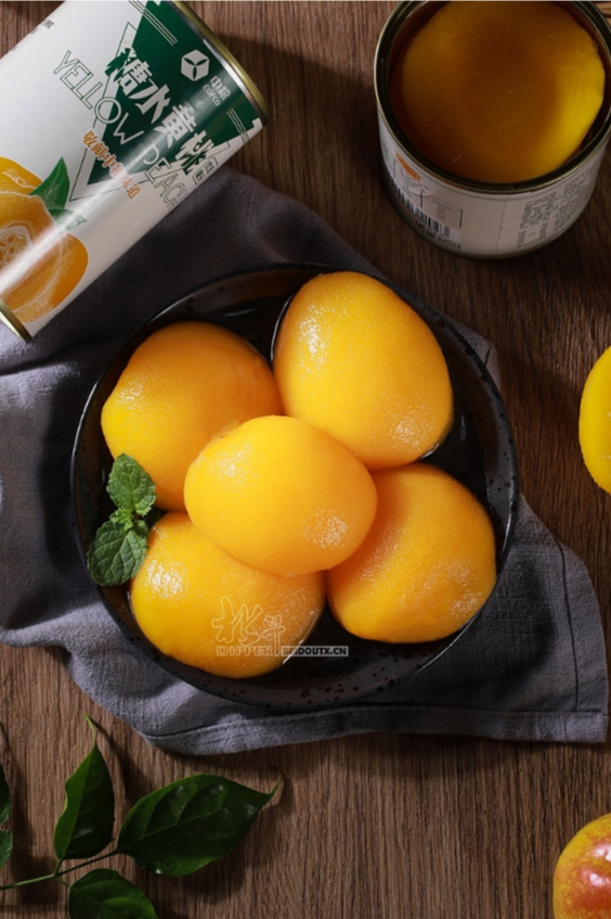 中粮黄桃罐头场景拍摄
